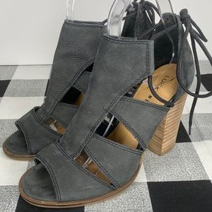 LUCKY BRAND Lanita Grey Leather Cut Out Sandals
